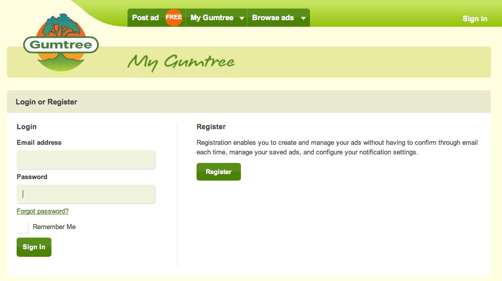 Gumtree register
